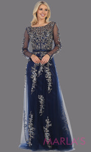 Long sleeve long navy blue flowy modest dress from MayQueen RQ7678. This long blue evening gown is perfect for mother of the bride dress, indowestern gown, modest prom dress, plus size evening dresses, black formal party gowns, lace dresses