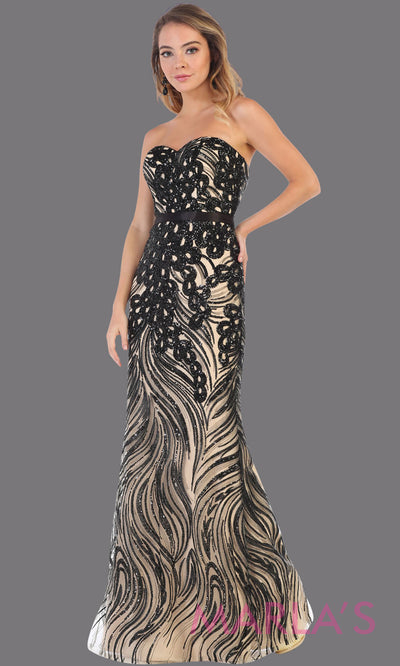 Long black strapless beaded sequin from MayQueen RQ7685. This fitted black evening dress is perfect for wedding engagement dress, reception dress, e-shoot dress, plus size evening party dress, beaded prom dress, mother of the bride dress