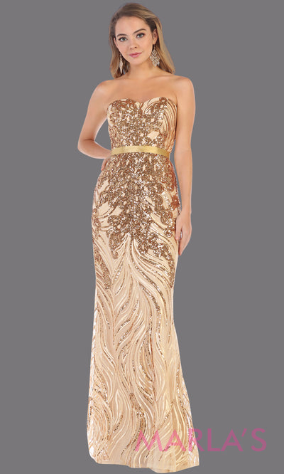 Long gold strapless beaded sequin from MayQueen RQ7685. This fitted gold evening dress is perfect for wedding engagement dress, reception dress, e-shoot dress, plus size evening party dress, beaded prom dress, mother of the bride dress