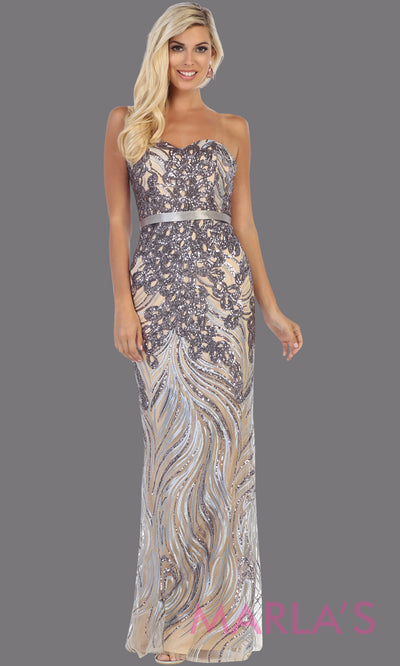 Long silver strapless beaded sequin from MayQueen RQ7685. This fitted grey dress is perfect for wedding engagement dress, reception dress, e-shoot dress, plus size dress, silver anniversary dress, beaded prom dress, mother of the bride dress