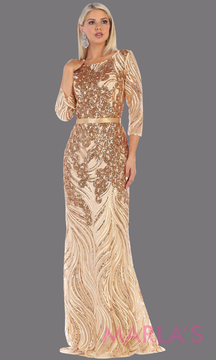 Long sleeve long gold modest dress from MayQueen RQ7686.This long gold evening gown is perfect for mother of the bride dress, indowestern gown, modest prom dress, plus size evening dresses, formal gowns, golden anniversary dress