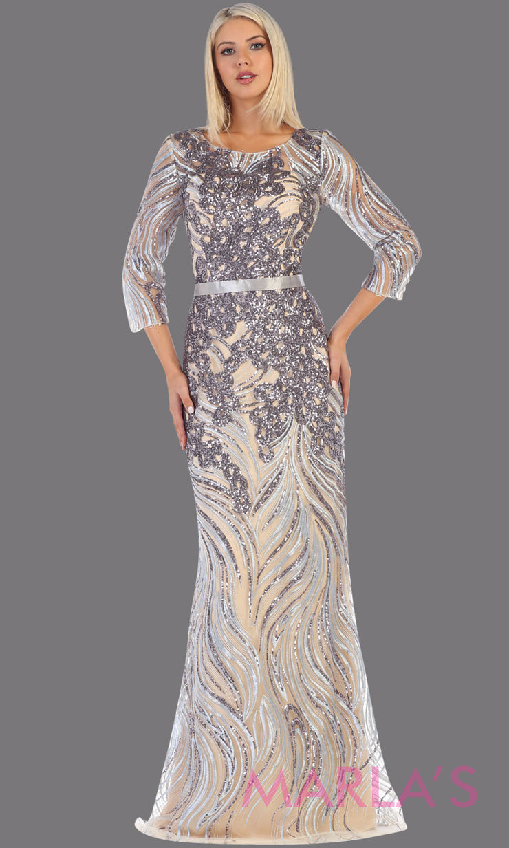 Long sleeve long silver grey modest dress from MayQueen RQ7686.This long grey evening gown is perfect for mother of the bride dress, indowestern gown, modest prom dress, plus size evening dresses, gray formal party gowns, silver anniversary