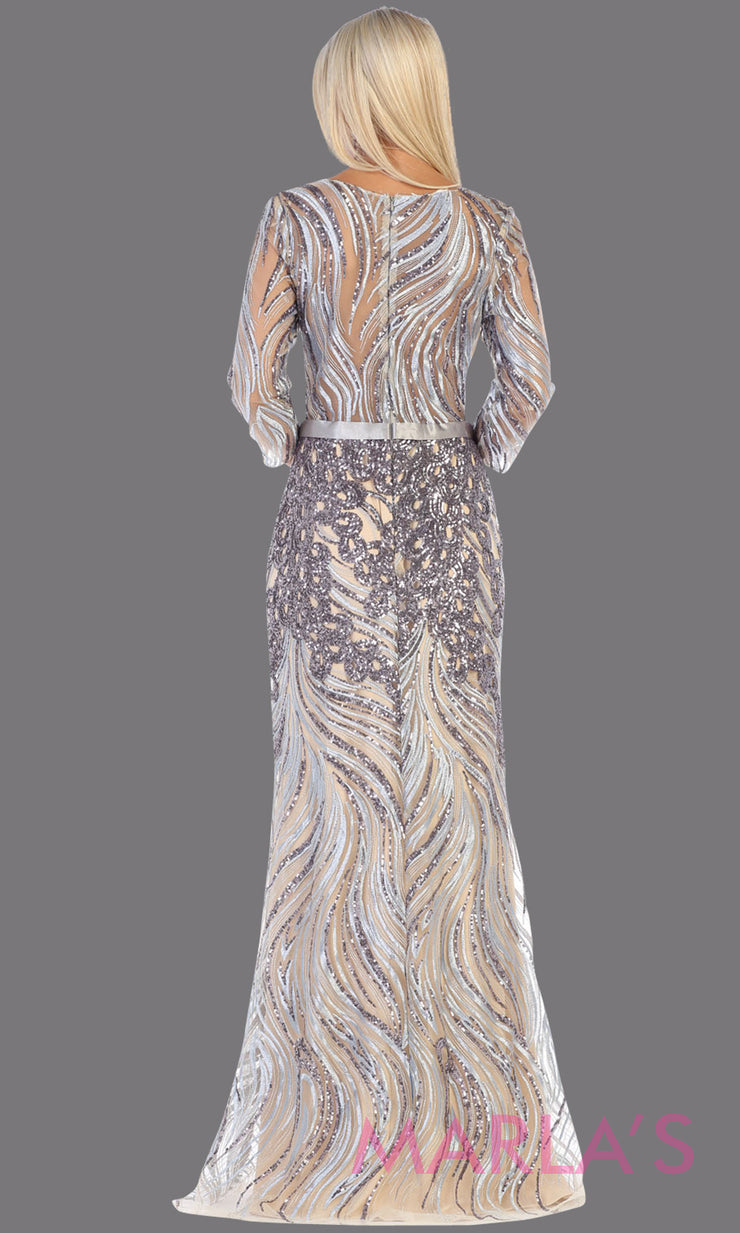 Back of Long sleeve long silver grey modest dress from MayQueen RQ7686.This long grey evening gown is perfect for mother of the bride dress, indowestern gown, modest prom dress, plus size evening dresses, gray formal party gowns, silver anniversary