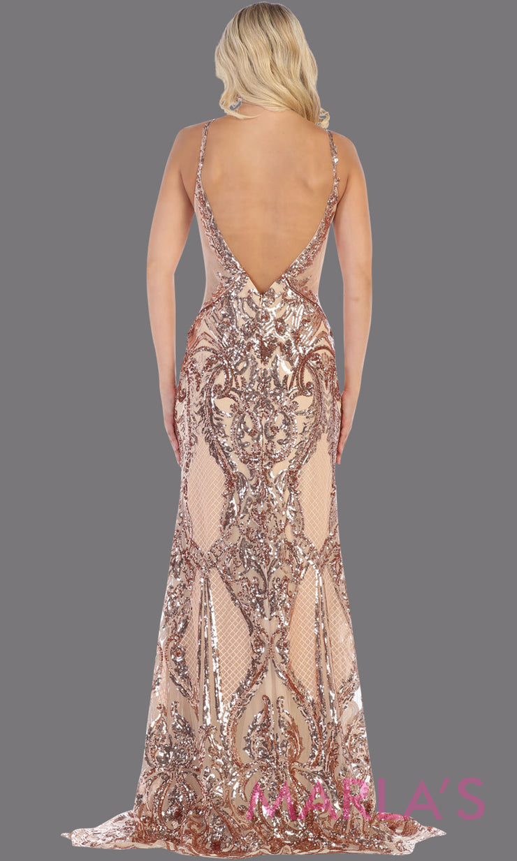 Back of Long high neck sequin gold with open back from MayQueen RQ7688. This formal evening gown is perfect for engagement dress, wedding reception dress, sequin prom dress, sexy formal wedding guest dress, gala dress, indowestern gold party gown
