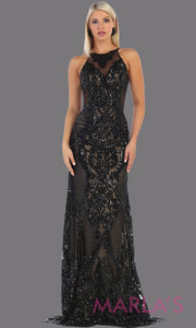 Long black sequin high neck fitted dress from MayQueen RQ7688. This full length beaded black gown is perfect for prom, evening party dress, indowestern gown, gala, formal wedding guest dress, mother of the bride.