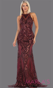 Long high neck sequin burgund with open back from MayQueen RQ7688. This formal evening gown is perfect for engagement dress, wedding reception dress, sequin prom dress, sexy maroon formal wedding guest dress, indowestern dark red party gown