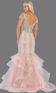 Back of Long mauve pink beade mermaid gown with cap sleeve, beading, 3 tier skirt from MayQueen RQ7690. This stunning dusty rose evening gown perfect for engagement dress, wedding reception dress, indowestern gown, engagement shoot, prom,formal gown