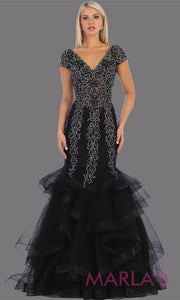 Long black beaded mermaid gown with cap sleeve, beading, 3 tier skirt from MayQueen RQ7690. This stunning black evening gown perfect for engagement dress, wedding reception dress, indowestern gown, engagement shoot, prom,formal gown