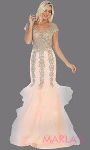 Long blush pink beade mermaid gown with cap sleeve, beading, 3 tier skirt from MayQueen RQ7690. This stunning light pink evening gown perfect for engagement dress, wedding reception dress, indowestern gown, engagement shoot, prom,formal gown