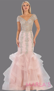 Long mauve pink beade mermaid gown with cap sleeve, beading, 3 tier skirt from MayQueen RQ7690. This stunning dusty rose evening gown perfect for engagement dress, wedding reception dress, indowestern gown, engagement shoot, prom,formal gown
