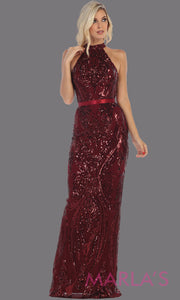 Long high neck burgundy red fitted sequin beaded evening dress from MayQueen RQ7696. This dark red beaded fancy dress is perfect for prom, engagement dress, wedding reception dress, indowestern gown, formal wedding guest dress.