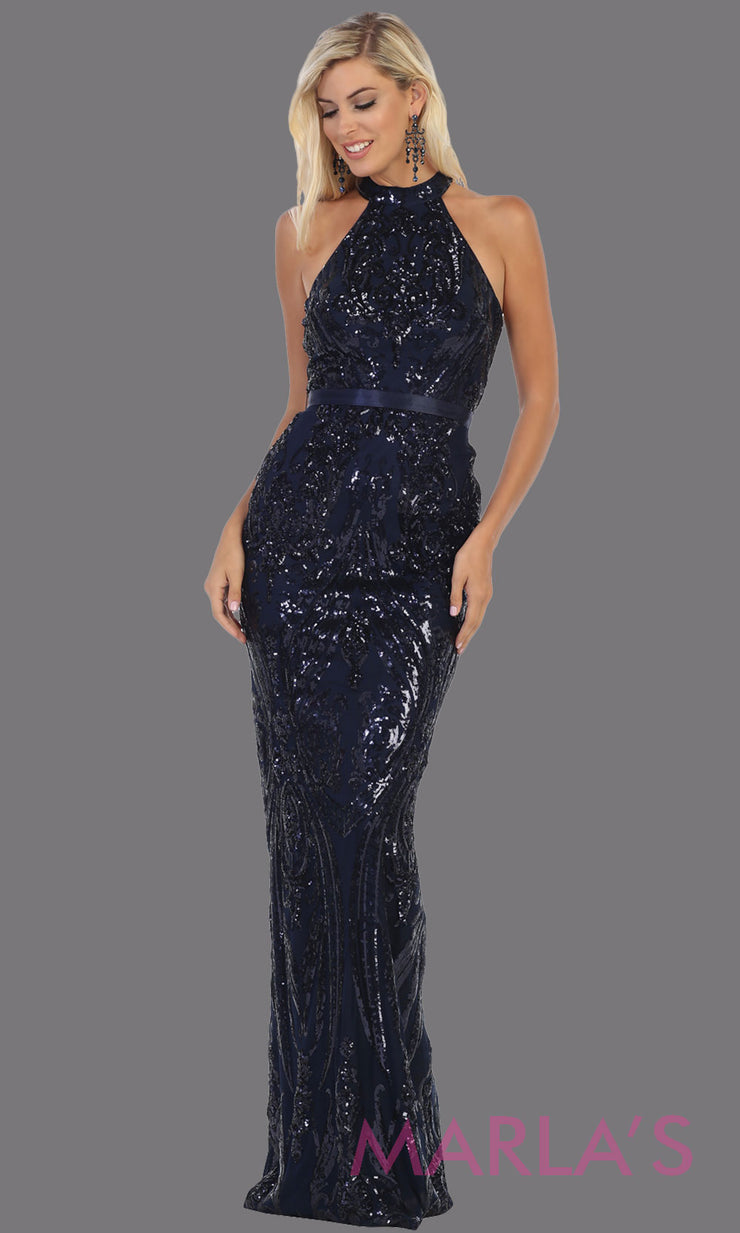 Long high neck navy blue fitted sequin beaded evening dress from MayQueen RQ7696. This dark blue beaded fancy dress is perfect for prom, engagement dress, wedding reception dress, indowestern gown, formal wedding guest dress.