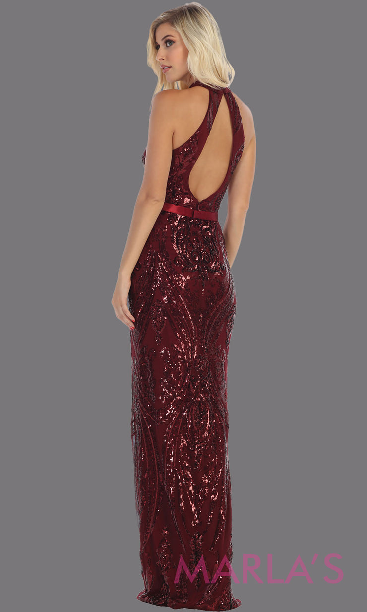 Back of Long high neck burgundy red fitted sequin beaded evening dress from MayQueen RQ7696. This dark red beaded fancy dress is perfect for prom, engagement dress, wedding reception dress, indowestern gown, formal wedding guest dress.