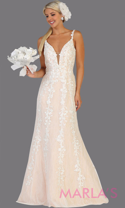 Long v neck fitted ivory mermaid lace dress from MayQueen RQ7697. This stunning ivory bridal lace dress is perfect for simple wedding, wedding reception, second wedding, destination wedding, court wedding or civil wedding, plus size bridal