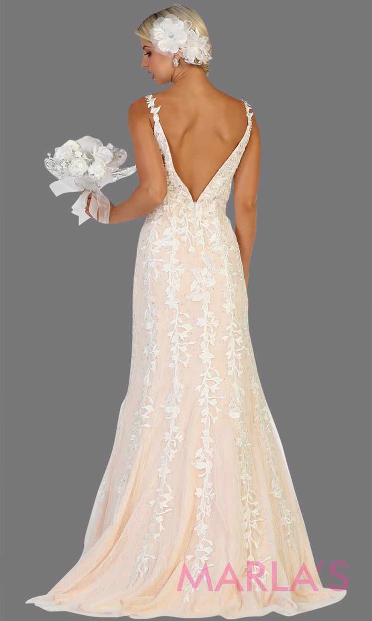 Back of Long v neck fitted ivory mermaid lace dress from MayQueen RQ7697. This stunning ivory bridal lace dress is perfect for simple wedding, wedding reception, second wedding, destination wedding, court wedding or civil wedding, plus size bridal