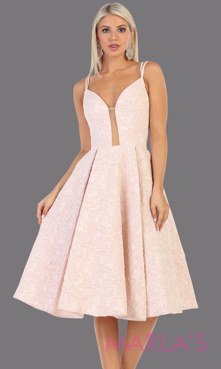 Short flowy blush pink frock dress from Mayqueen RQ7699. This pink dress is perfect for bridal shower dress, second wedding dress, court or civil wedding, simple outdoor wedding, grade 8 grad dress, graduation dress, plus size party dress