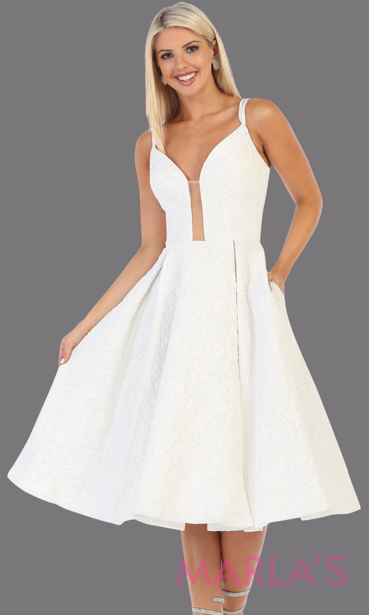 Short flowy ivory frock dress from Mayqueen RQ7699. This ivory dress is perfect for bridal shower dress, second wedding dress, court or civil wedding, simple outdoor wedding, grade 8 grad dress, graduation dress, plus size party dress