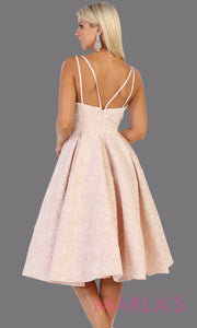 Back of Short flowy blush pink frock dress from Mayqueen RQ7699. This pink dress is perfect for bridal shower dress, second wedding dress, court or civil wedding, simple outdoor wedding, grade 8 grad dress, graduation dress, plus size party dress