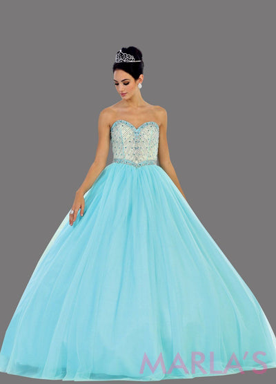 Long aqua blue strapless princess quinceanera ball gown with rhinestone beading. Perfect light blue dress for Engagement dress, Quinceanera, Sweet 16, Sweet 15 and pink Wedding Reception Dress. Available in plus