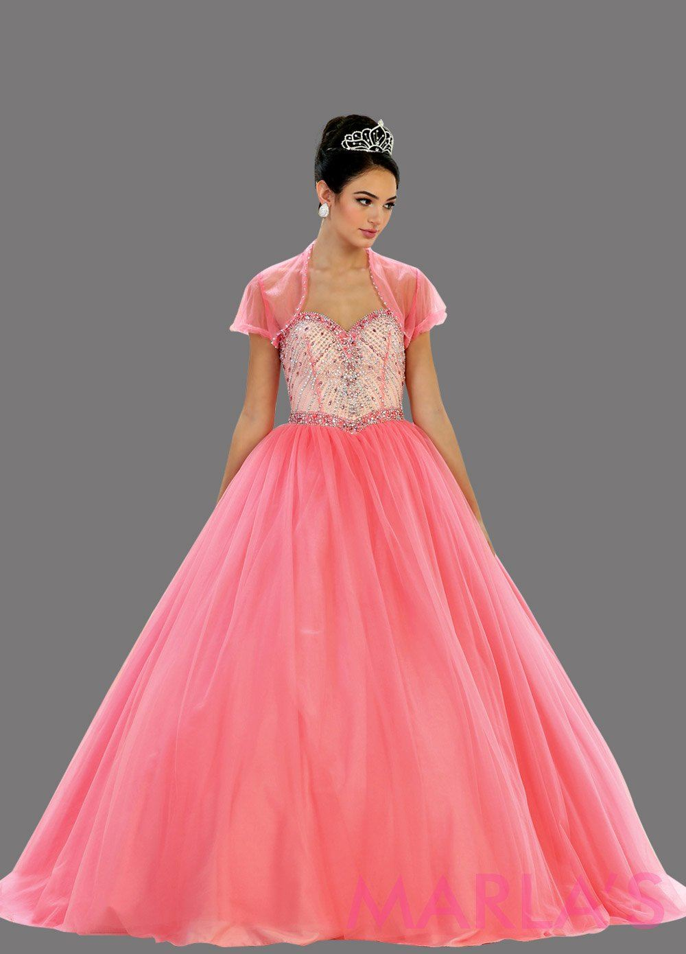 Long fuchsia strapless princess quinceanera ball gown with rhinestone beading. Perfect hot pink dress for Engagement dress, Quinceanera, Sweet 16, Sweet 15 and pink Wedding Reception Dress. Available in plus