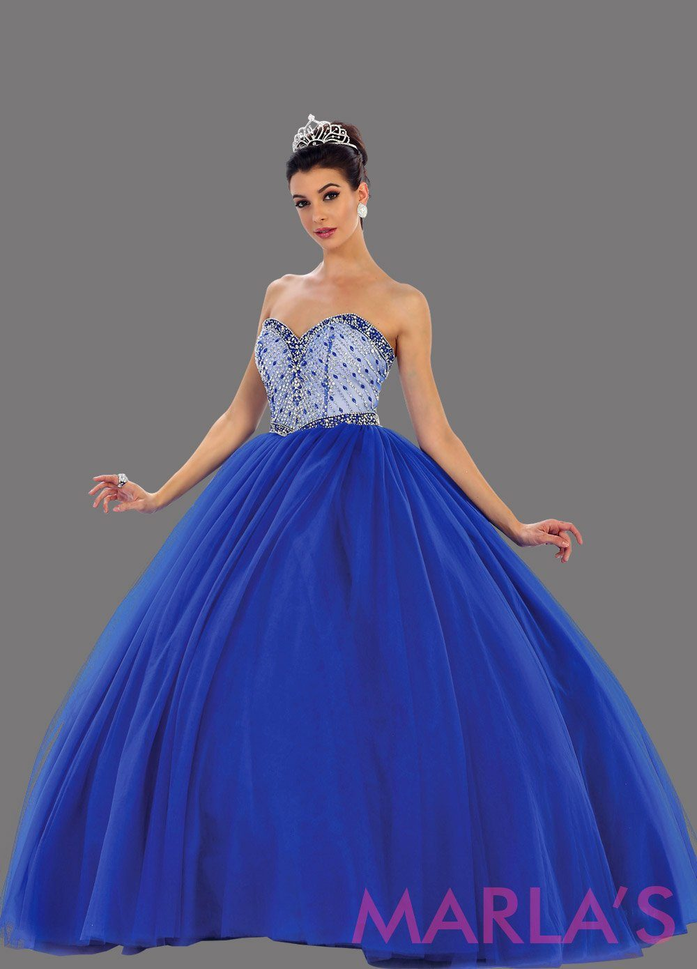 Long royal blue strapless princess quinceanera ball gown with rhinestone beading. Perfect royal blue dress for Engagement dress, Quinceanera, Sweet 16, Sweet 15 and pink Wedding Reception Dress. Available in plus
