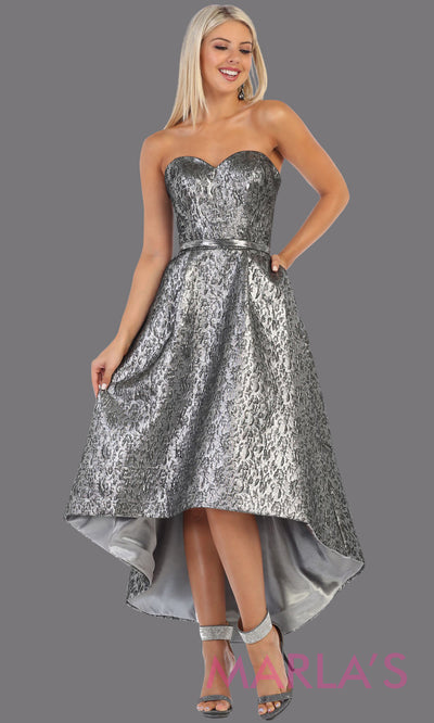 High low silver strapless dress from MayQueen RQ7702. This grey hi low frock is perfect for grade 8 grad, graduation dress, guest for prom, semi formal, plus size wedding guest dress, semi formal party dress, confirmation dress