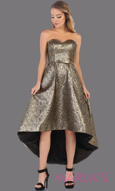 Strapless high low gold metallic semi formal party dress from MayQueen RQ7702. This hi lo party dress is perfect prom, grade 8 graduation, plus size wedding guest dresses, gala, formal evening party, graduation
