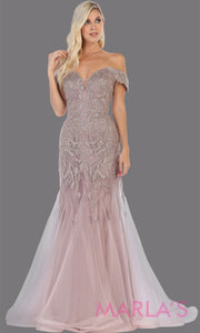 Long mauve beaded mermaid off shoulder gown from MayQueen RQ7705. This stunning dusty rose evening gown is perfect for engagement dress, wedding reception dress, indowestern gown, engagement shoot, prom, formal evening party gown, plus size