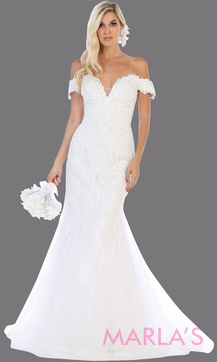 Long off shoulder ivory white lace mermaid wedding dress. This white wedding gown is perfect for a destination wedding, reception wedding gown, court wedding, second wedding, plus size wedding mermaid gown.