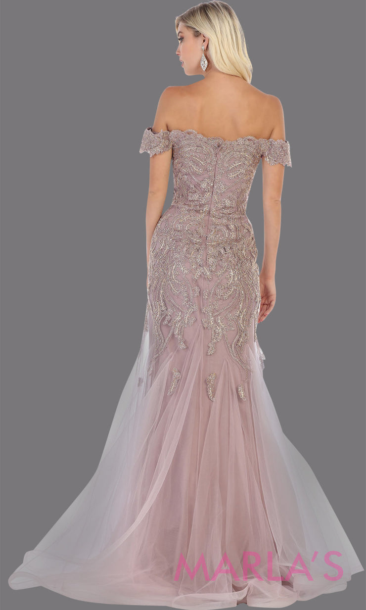 Back of Long mauve beaded mermaid off shoulder gown from MayQueen RQ7705. This stunning dusty rose evening gown is perfect for engagement dress, wedding reception dress, indowestern gown, engagement shoot, prom, formal evening party gown, plus size