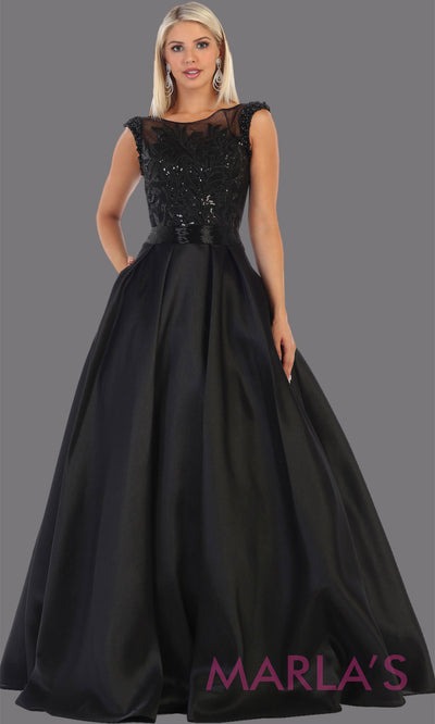 Long high neck black taffeta gown with beaded top from MayQueen RQ7706. This full length black dress is perfect for engagement dress, e shoot, summer formal wedding guest dress, plus size gown, black indowestern gown