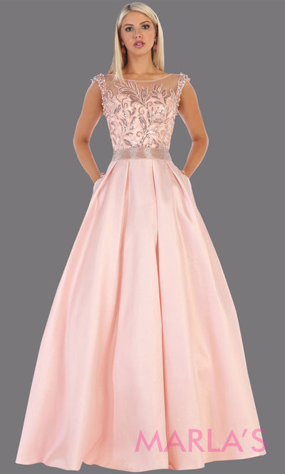 Long high neck blush pink taffeta gown with beaded top from MayQueen  RQ7706. This full length light pink dress is perfect for engagement dress, e shoot, summer formal wedding guest dress, plus size gown, pink indowestern gown
