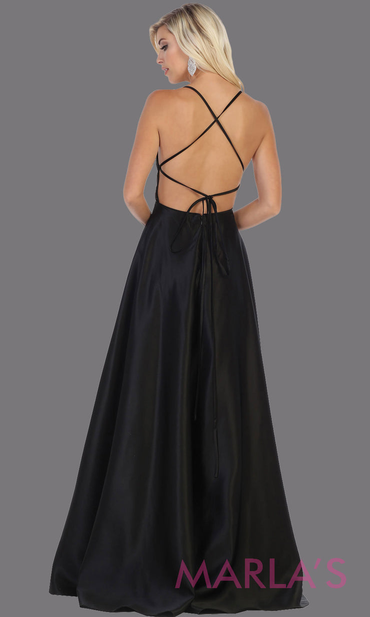 Back of Long black satin corset back dress with high slit from MayQueen RQ7711. This black prom evening gown is perfect for wedding guest dress, formal party dress, plus size dresses, engagement party, e shoot, engagement shoot, gala