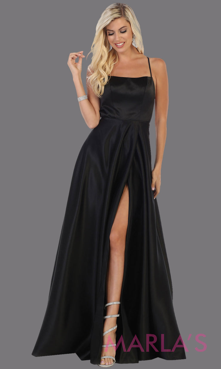 Long black satin corset back dress with high slit from MayQueen RQ7711. This black prom evening gown is perfect for wedding guest dress, formal party dress, plus size dresses, engagement party, e shoot, engagement shoot, gala