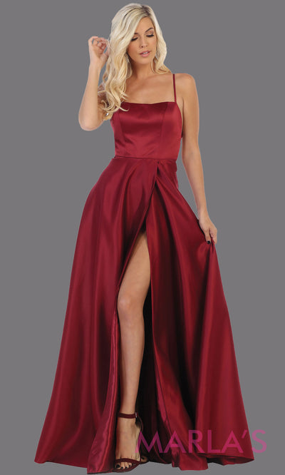 Long burgundy satin corset back dress with high slit from MayQueen RQ7711. This dark red prom evening gown is perfect for wedding guest dress, formal party dress, plus size dresses, engagement party, e shoot, engagement shoot, gala