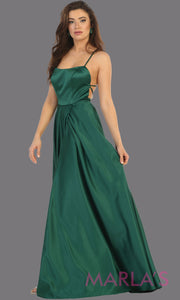 Long hunter green satin corset back dress with high slit from MayQueen RQ7711.This dark  green prom evening gown is perfect for wedding guest dress,formal party dress,plus size dresses, engagement party,eshoot, engagement shoot,gala