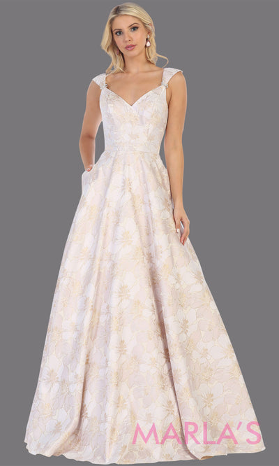 Long champagne taffeta gown with wide straps, flowy skirt from MayQueen RQ7714. This long light gold gown is perfect for engagment party dress, summer wedding formal gown, prom dress, plus size wedding guest dress, engagement shoot, e shoot.