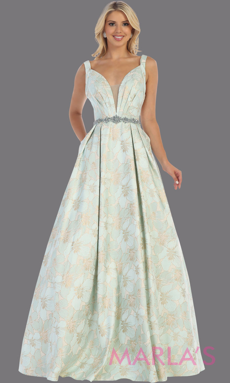 Long mint green taffeta gown with wide straps, flowy skirt from MayQueen RQ771.5 This long light green gown is perfect for engagment party dress,summer wedding formal gown, prom dress, plus size wedding guest dress, engagement shoot, e shoot