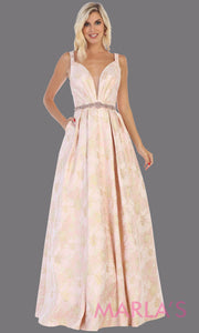 Long pink taffeta gown with wide straps, flowy skirt from MayQueen RQ771.5 This long light pink gown is perfect for engagment party dress,summer wedding formal gown, prom dress, plus size wedding guest dress, engagement shoot, e shoot