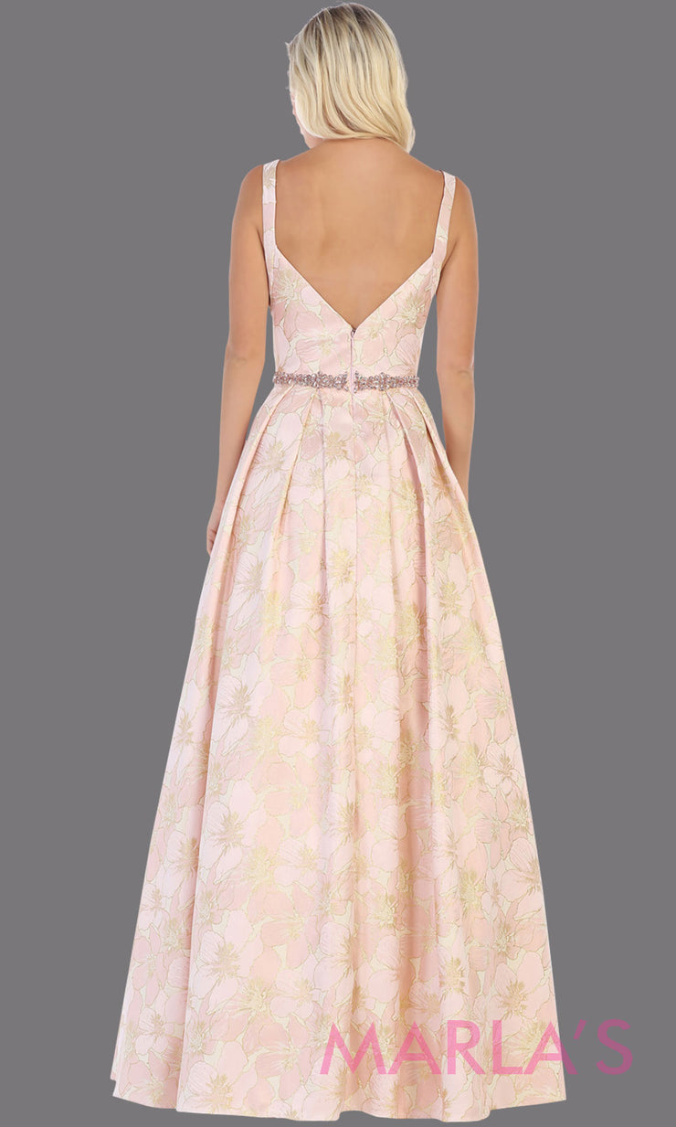 Back of Long pink taffeta gown with wide straps, flowy skirt from MayQueen RQ771.5 This long light pink gown is perfect for engagment party dress,summer wedding formal gown, prom dress, plus size wedding guest dress, engagement shoot, e shoot