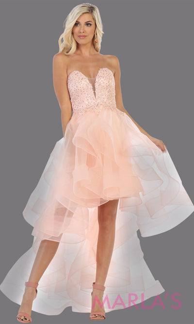 Hi low blush pink strapless dress with tulle skirt. This stunning hi lo light pink from MayQueen RQ7716 is perfect for bridal shower, grade 8 grad, graduation, prom, engagement dress, e shoot, civil or court wedding, destination wedding