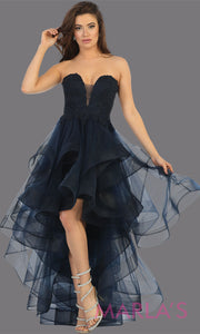 Hi low navy blue strapless dress with tulle skirt. This stunning hi lo dark blue from MayQueen RQ7716 is perfect for grade 8 grad, graduation, prom, engagement dress, e shoot, wedding guest dress, semi formal party dress, birthday dress