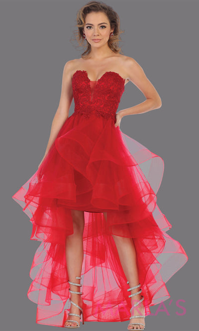 Hi low red strapless dress with tulle skirt. This stunning hi lo red from MayQueen RQ7716 is perfect for grade 8 grad, graduation, prom, engagement dress, e shoot, wedding guest dress, semi formal party dress, birthday dress