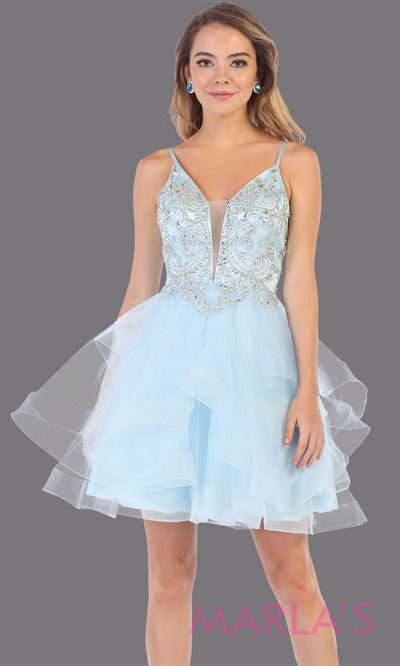 Short aqua blue grade 8 graduation dress from MayQueen MQ7719. This stunning light blue graduation or homecoming dress is perfect for semi formal, junior bridesmaid dresses, plus size grad dresses, party dresses,quinceanera damas,bat mitzvah