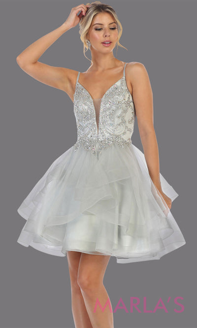 Short silver grade 8 graduation dress from MayQueen MQ7719. This stunning light grey graduation or homecoming dress is perfect for semi formal, junior bridesmaid dresses, plus size grad dresses, party dresses,quinceanera damas,bat mitzvah