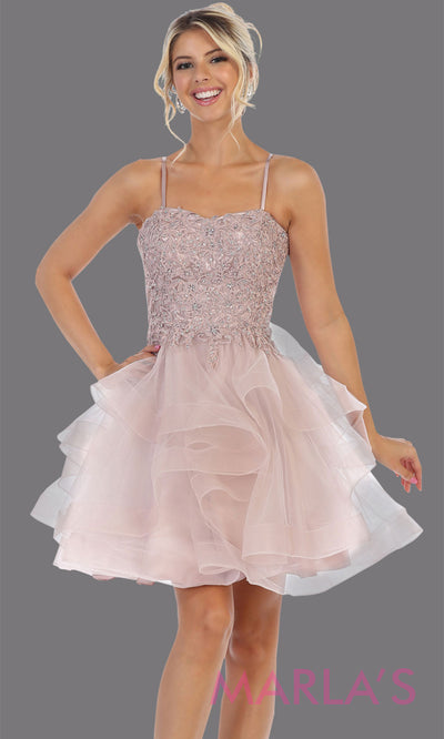 Short mauve grade 8 graduation dress from MayQueen MQ7720. This stunning dusty rose graduation or homecoming dress is perfect for semi formal, junior bridesmaid dresses, plus size grad dresses, party dresses, quinceanera damas, bat mitzvah