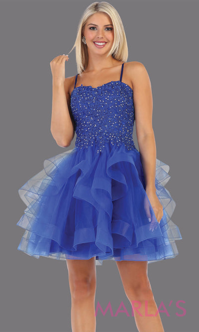 Short royal blue grade 8 graduation dress from MayQueen MQ7720.This stunning blue graduation or homecoming dress is perfect for semi formal, junior bridesmaid dresses, plus size grad dresses, party dresses, quinceanera damas, bat mitzvah