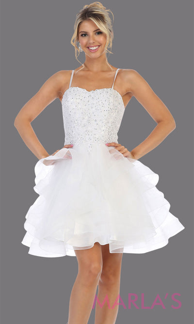 Short white grade 8 graduation dress from MayQueen MQ7720. This stunning white graduation or homecoming dress is perfect for semi formal, junior bridesmaid dresses, plus size grad dresses, bridal shower, quinceanera damas, bat mitzvah