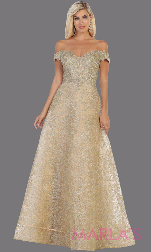 Long off shoulder gold lace gown from MayQueen Rq7722. This stunning light gold gown is perfect for engagement wedding dress, wedding reception gown, e shoot, golden anniversary, prom, indowestern gown, plus size formal evening gown,