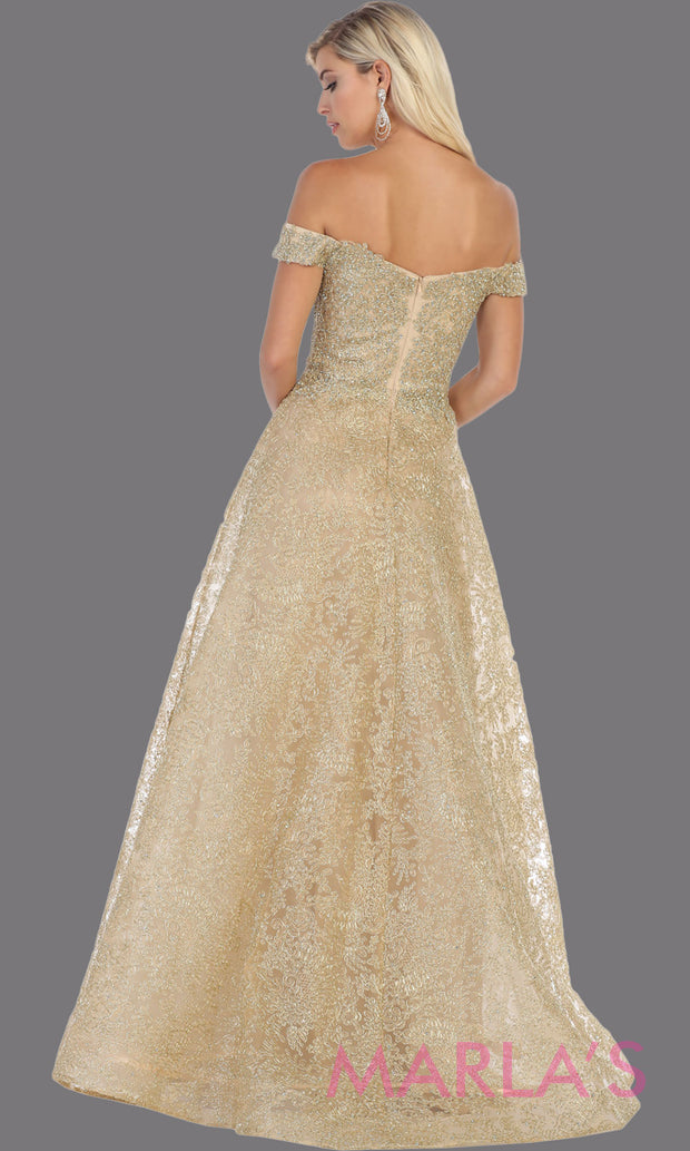 Back of Long off shoulder gold lace gown from MayQueen Rq7722. This stunning light gold gown is perfect for engagement wedding dress, wedding reception gown, e shoot, golden anniversary, prom, indowestern gown, plus size formal evening gown,